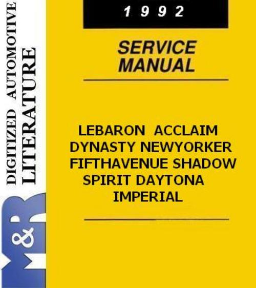 Pay for 1992 Acclaim Dynasty LeBaron Shadow  Chrysler Service Manual