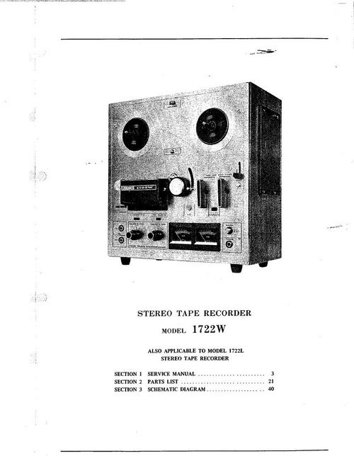 Pay for Akai 1722 L and 1722 W reel tape recorder Service Manual