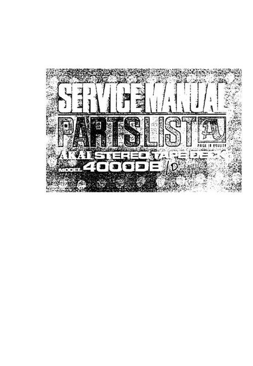 Pay for Akai 4000-DB  reel to reel tape recorder Service Manual