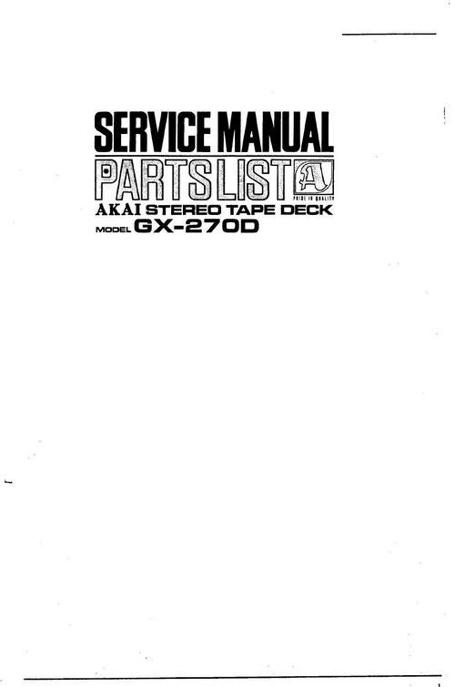 akai gx 270 d reel to reel tape recorder service manual downlo rh tradebit com GX270 Carburetor honda gx270 repair manual