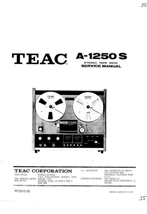 Teac A-1250-s Reel Tape Recorder Service Manual