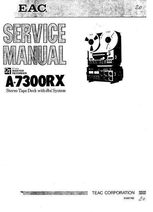 teac a-7300-rx reel tape recorder service manual