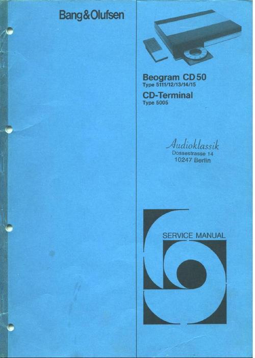 bang  u0026 olufsen beogram cd-50 service manual