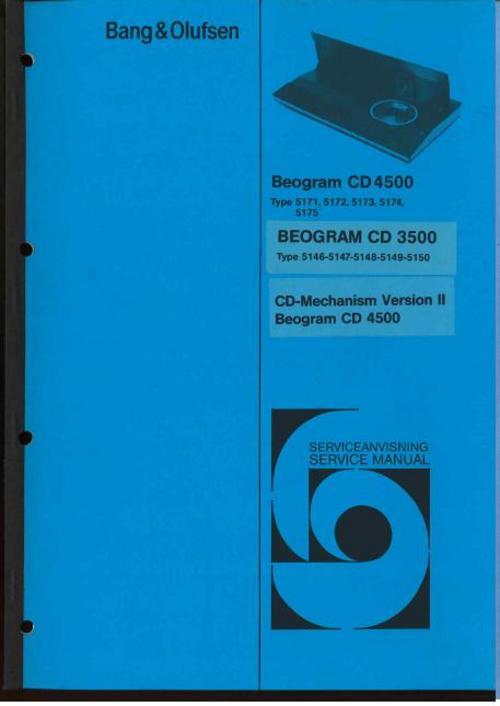 bang olufsen beogram cd 3500 cd 4500 service manual downloa rh tradebit com service manual cadillac xt5 service manual downloads