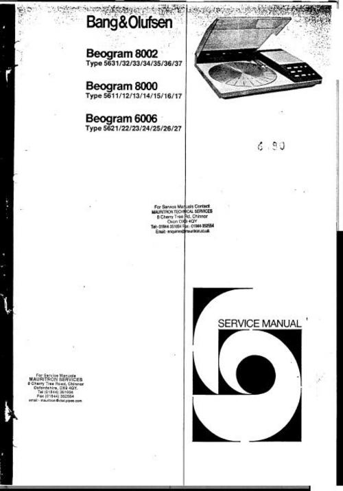 bang  u0026 olufsen beogram 6006   8000   8002 service manual