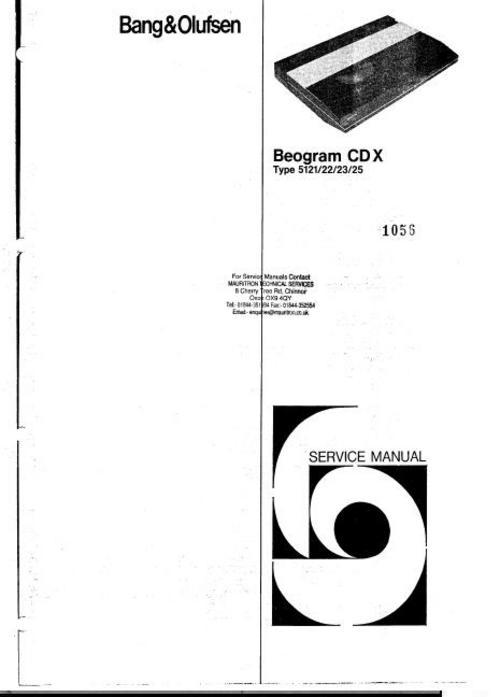 bang  u0026 olufsen beogram cd-x service manual