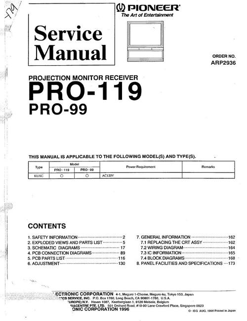 Pay for Pioneer PRO-119 Projection Monitor Receiver Service Manual