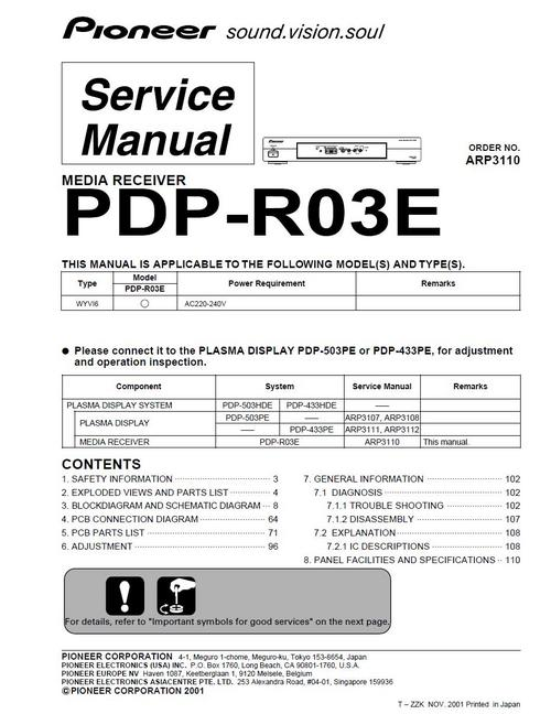 pioneer pdp r03e plasma media receiver service manual download ma rh tradebit com 12H802 Manual Repair Manuals Yale Forklift