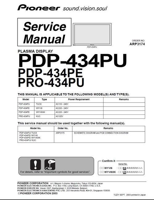 Pay for Pioneer Plasma TV PDP-434 PU & PE, Service Manual