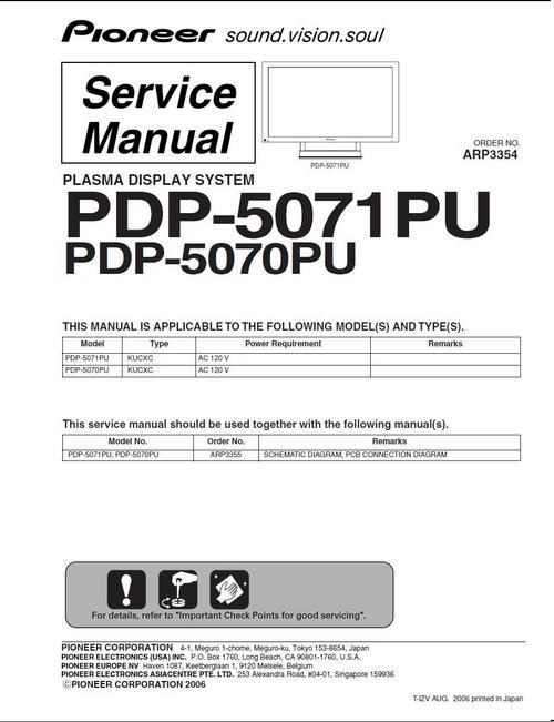 Free Pioneer PDP-5070 Kuro TV Plasma , Service Manual Download thumbnail