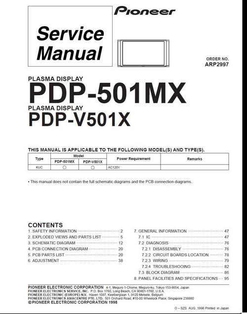 Pay for Pioneer PDP-501 MX Kuro Plasma TV , Service Manual