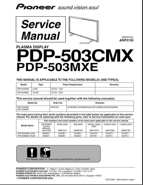 pioneer pdp 503 cmx arp 3150 kuro plasma tv service manual down rh tradebit com Pioneer 50 Inch Plasma TV pioneer plasma display pdp-4300 manual