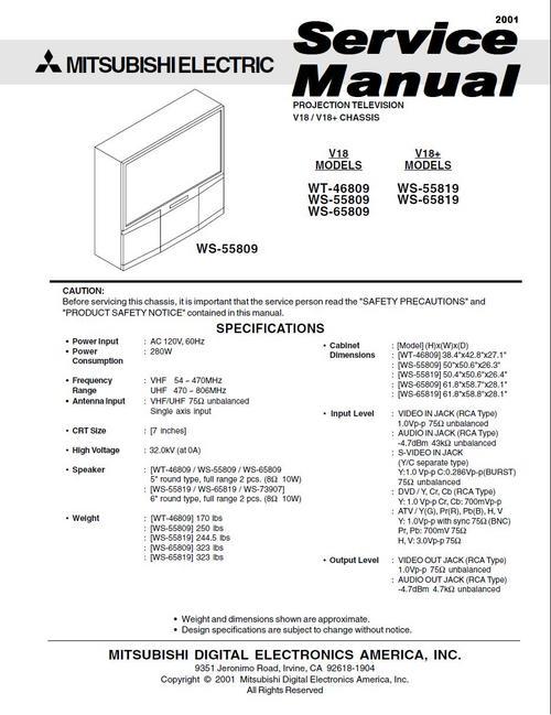 Pay for Mitsubishi WT-46809 WS-55809 WS-6509 (V18) Service Manual