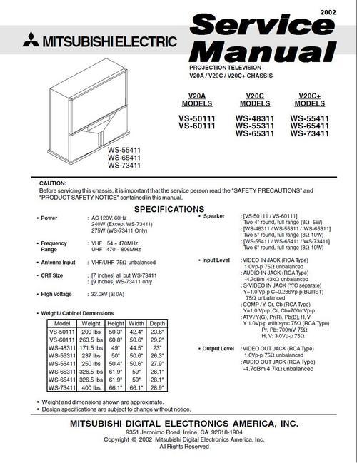 mitsubishi ws 48311 ws 55311 ws 65311 tv service manual down rh tradebit com service manual mitsubishi d2600 service manual mitsubishi d2600