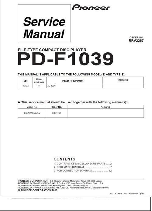 Free Pioneer  PD-F1039 Original Service Manual Download thumbnail