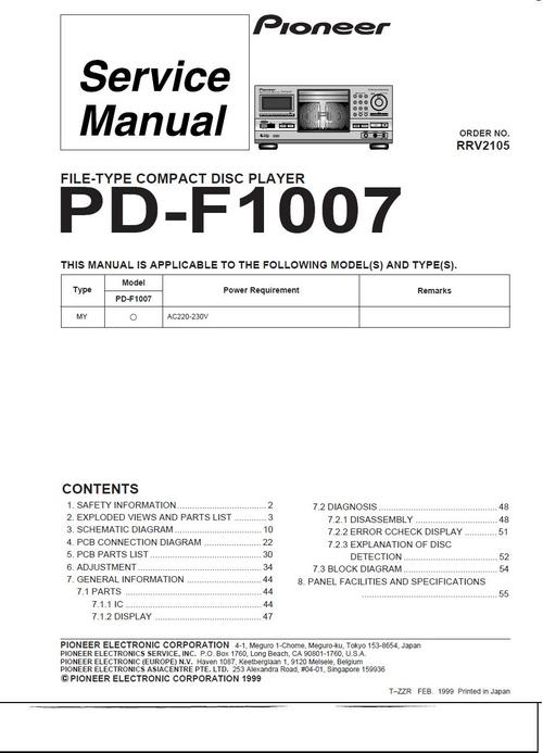 Pay for Pioneer  PD-F-1007 Original Service Manual