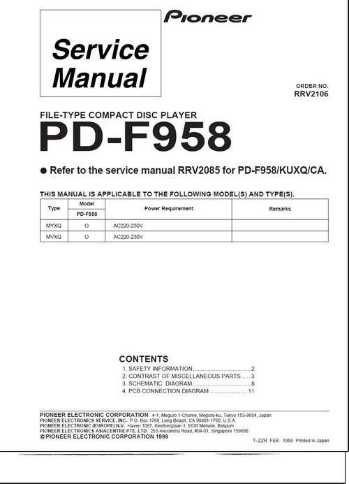 Free Pioneer PD-F-958  Original Service Manual Download thumbnail