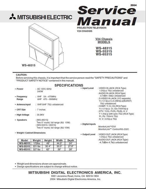 mitsubishi ws 48315 ws 55315 ws 65315 tv service manual downl rh tradebit com Mitsubishi WS 55315 Problems Mitsubishi WS 55315 HDMI