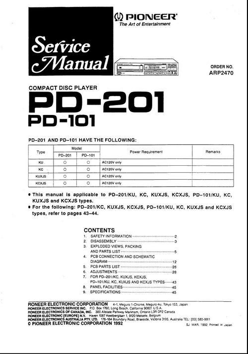 Free Pioneer PD-101 & PD-102 Original Service Manual Download thumbnail