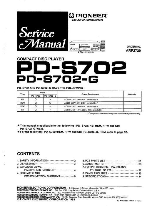 Pioneer Pd-s-702 Original Service Manual