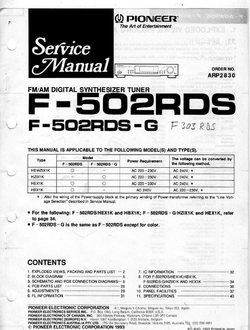 pioneer f 502 rds tuner original service manual download manua rh tradebit com pioneer f-204 rds manual pioneer rds radio manual