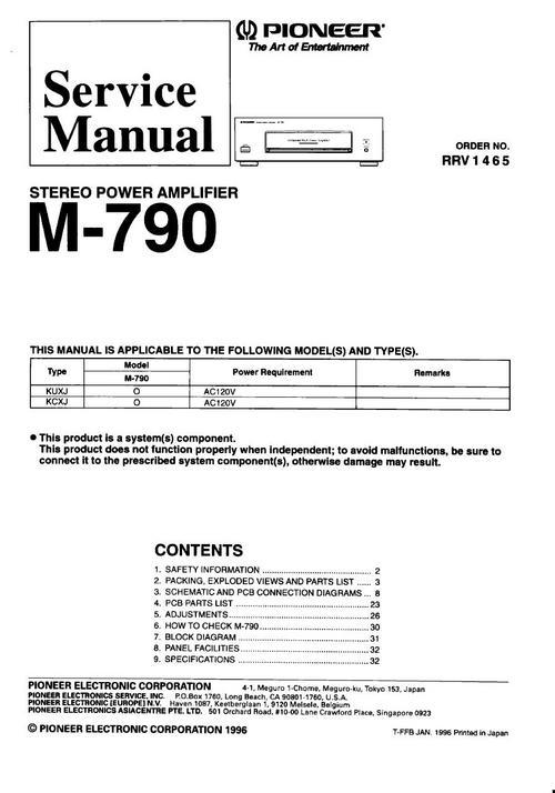 Pioneer M-790 Power Amplifier , Original Service Manual