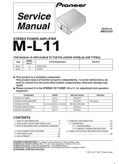 Pioneer M-L11 Power Amplifier , Original Service Manual