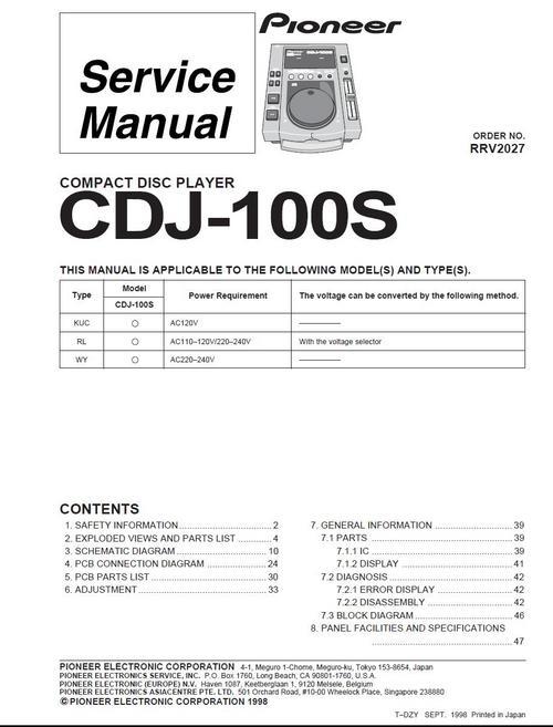 Free Pioneer CDJ-100-S  , Original Service Manual Download thumbnail