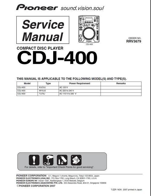 pioneer cdj 400 original service manual download manuals rh tradebit com Pioneer 400 Mixer DJM-400 Review