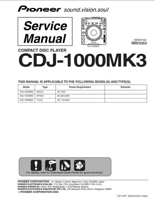 pioneer cdj 1000 mk3 original service manual download manuals. Black Bedroom Furniture Sets. Home Design Ideas