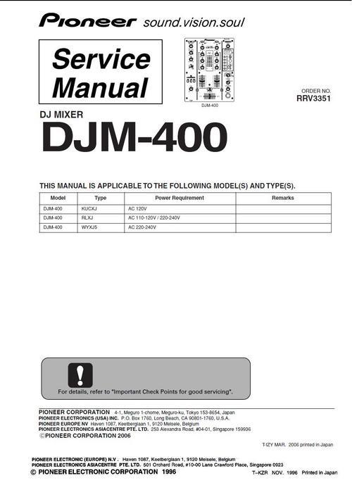 Free Pioneer  DJM-400 Mixer , Original Service Manual Download thumbnail
