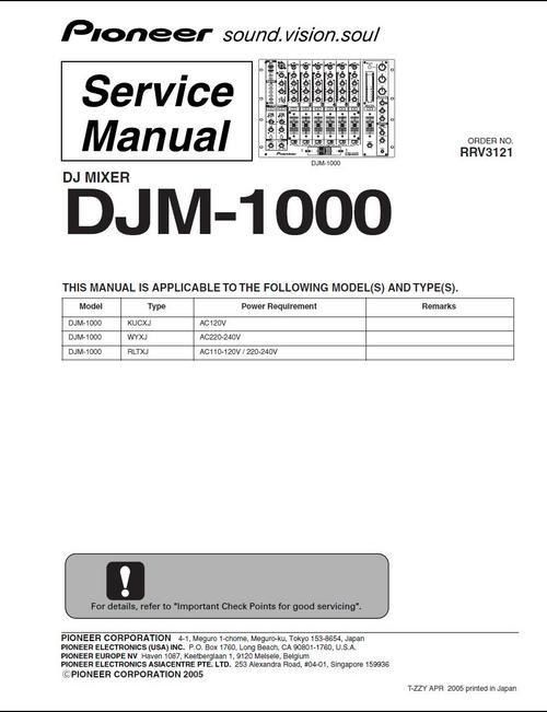 Pay for Pioneer  DJM-1000 Mixer , Original Service Manual