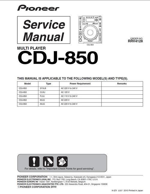 Free Pioneer CDJ-850  , Original Service Manual Download thumbnail