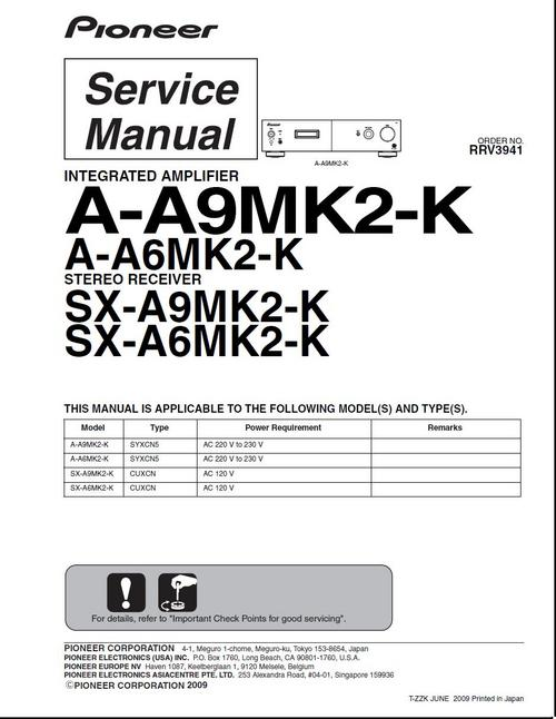 Pay for Pioneer A-A6 mk2 & A-SX6 mk2 , Original Service Manual