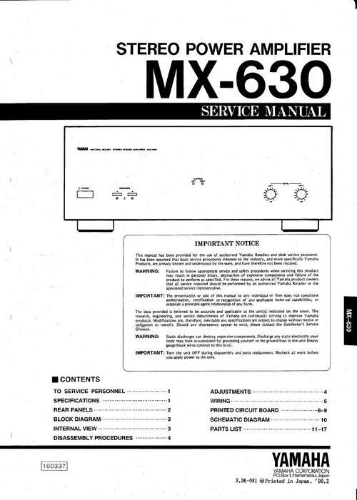 Yamaha Mx-630 Power Amplifier   Original Service Manual