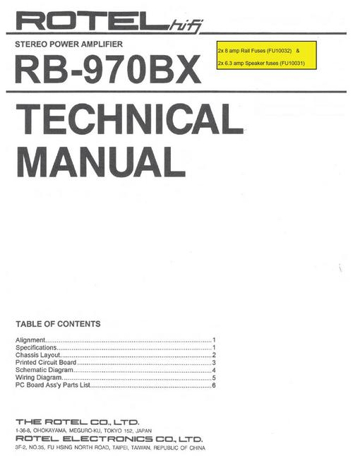 Rotel rb 970 bx power amplifier service technical manual downl