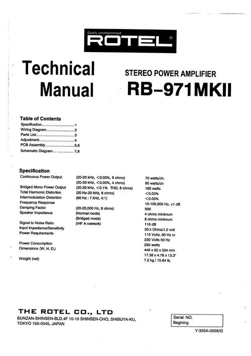 Rotel Rb-971 Mk2 Power Amplifier Service - Technical Manual