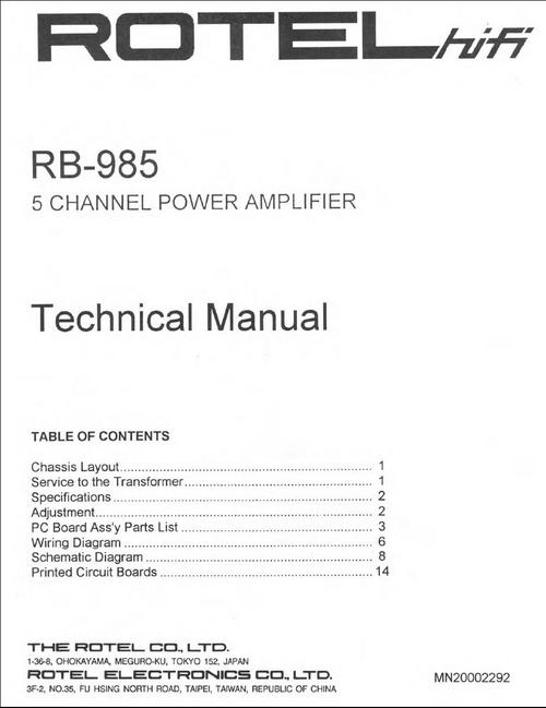 Pay for Rotel RB-985 Power Amplifier  Service - Technical Manual