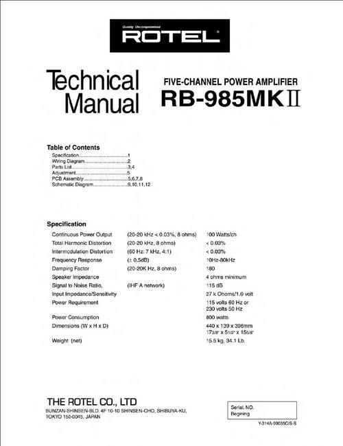Pay for Rotel RB-985 mk2 Power Amplifier  Service - Technical Manual