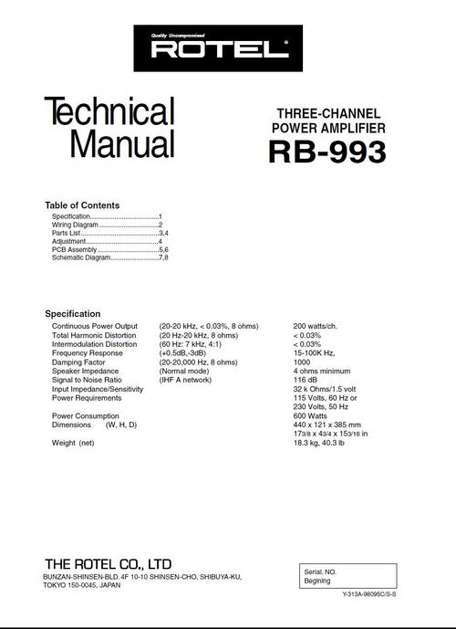 Rotel RB-993 Power Amplifier Service - Technical Manual