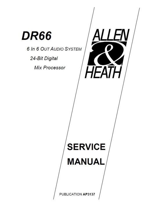 allen  u0026 heath dr-66 mix processor  original service manual