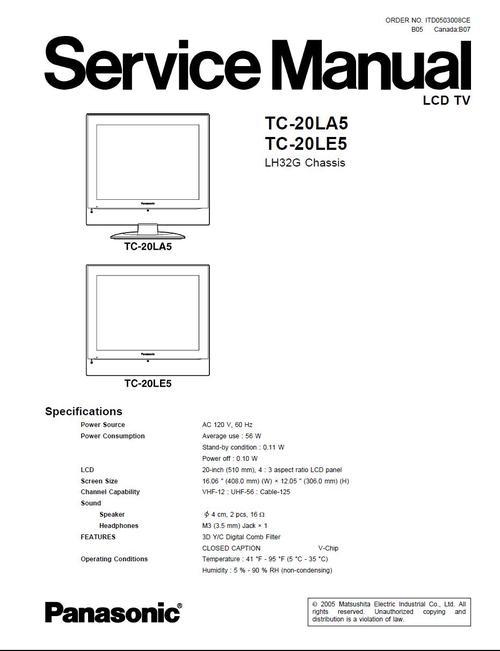 panasonic tc 20la5 tc 20le5 service manual schematics. Black Bedroom Furniture Sets. Home Design Ideas