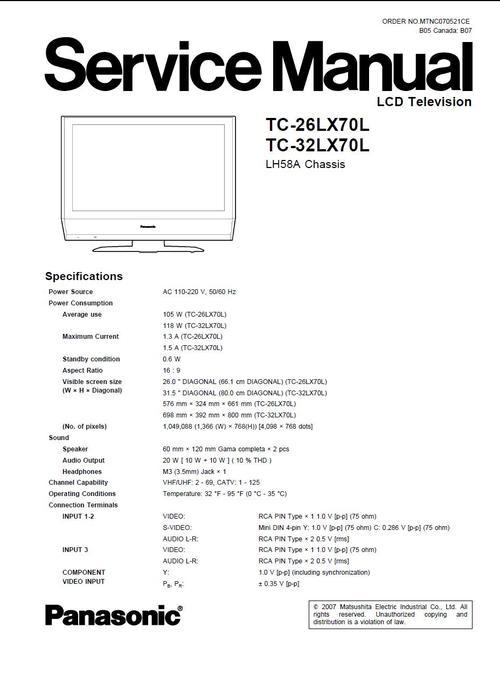 panasonic tc 26lx70l 32lx70l service manual schematics. Black Bedroom Furniture Sets. Home Design Ideas