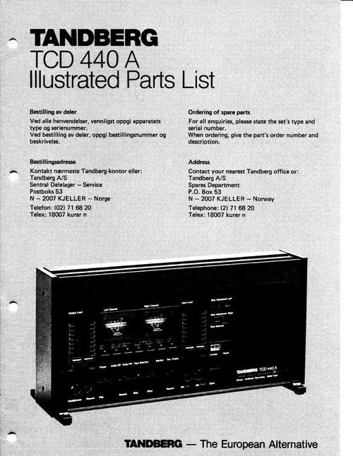 tandberg tcd 440 a illustration parts list download manuals am rh tradebit com tandberg 3014 service manual tandberg 3011 service manual