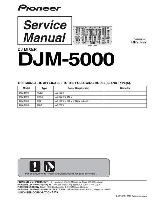 Pay for Pioneer DJM-5000 Mixer , Original Service Manual