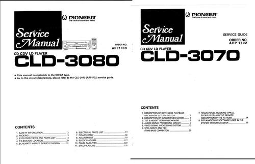 Free Pioneer  CLD-3080 & CLD-3070 Laser Disc , Service Manual Download thumbnail