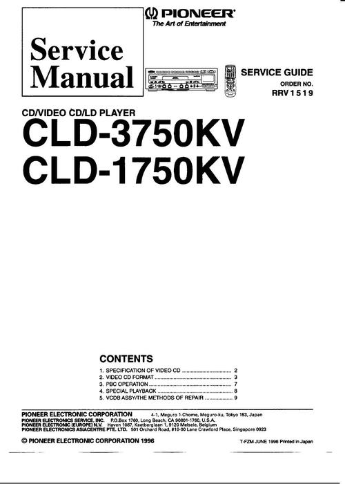 Free Pioneer CLD-1750-KV , 3750-KV  Laser Disc , Service Manual  Download thumbnail