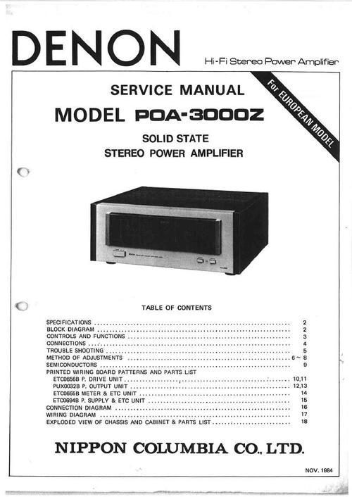 Denon POA-3000Z , Power Amplifier , original Service Manual