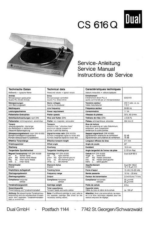 dual cs-616-q turntable service manual