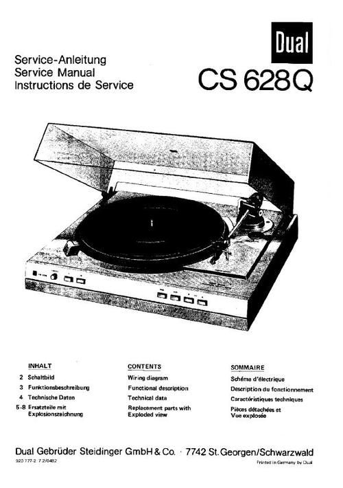 dual cs-628-q turntable service manual